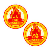 Hot sale and deal on fire, yellow and red drawn round labels wit. Hot sale and deal on fire banners - text in yellow and red drawn circle labels with flames Royalty Free Stock Photo