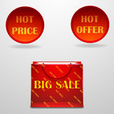 Hot sale design with shopping bag. Hot price, offer, big sale . hot sale design with shopping bag Stock Photography