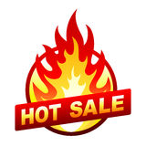 Hot sale fire badge, price sticker, flame. Isolated on white hot sale sticker, badge with flame Royalty Free Stock Photo