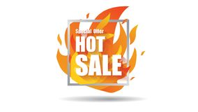 Hot sale fire special price offer deal vector labels banner templates designs concept with flame. Vector. Stock Photography