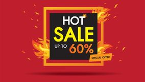 Hot Sale Fire Template design square banner with Special sale.Black card for offer with frame fire graphic design concept. Advertising poster layout with flame Stock Illustration