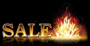 Hot sale flame banner, vector. Illustration Stock Images