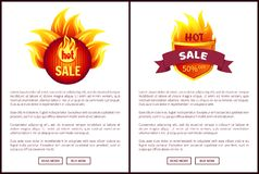 Hot sale heraldic icon round label web promo offer. Hot sale heraldic badge and round label with promo offer 50 percent off, burning fire flame web online royalty free illustration