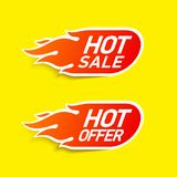 Hot Sale and Hot Offer labels. Stickers, special offer Stock Image