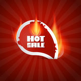 Hot Sale Label with Flames. Dark Red Hot Sale Label with Flames Royalty Free Stock Photography