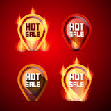 Hot Sale Labels Set. In Flames - Fire Stock Image