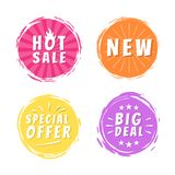 Hot Sale New Big Deal Special Offer Promo Stickers. Round labels set with brush strokes vector illustration stamps with text isolated on white background Vector Illustration