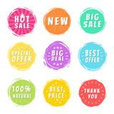 Hot Sale New Deal Special Offer Promo Best Price. Hot sale new big deal special offer promo best price 100 natural thank you stickers round labels set with brush Stock Illustration