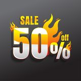 Hot Sale with 50% Off. Creative glowing social media banner desi. Gn. vector. on black background Royalty Free Stock Photo