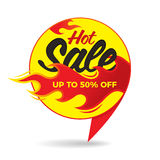 Hot sale price offer deal vector labels stickers. Bubble form wi. Th flame. Vector illustration Stock Image