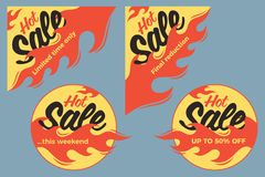 Hot sale price offer deal vector labels stickers. Circle form wi. Th flame. Vector illustration Stock Image