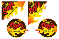 Hot sale price offer deal vector labels stickers. Corner form wi. Th flame. Vector illustration Stock Photo