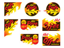 Hot sale price offer deal vector labels stickers. Corner form wi. Th flame. Vector illustration Stock Images