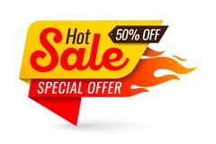 Hot sale price offer deal vector labels templates stickers desig. Ns with flame. Vector illustration Stock Photo