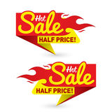 Hot sale price offer deal vector labels templates stickers desig. Ns with flame. Vector illustration Stock Images