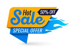 Hot sale price offer deal vector labels templates stickers desig. Ns with flame. Vector illustration Royalty Free Stock Photo