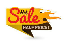 Hot sale price offer deal vector labels templates. Stickers designs with flame. Vector illustration Stock Photography