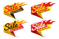 Hot sale price offer deal vector labels templates stickers. Designs with flame. Vector illustration Stock Images