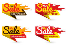 Hot sale price offer deal vector labels templates stickers. Designs with flame. Vector illustration Royalty Free Stock Photo