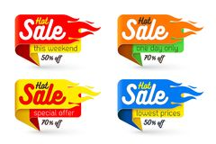 Hot sale price offer deal vector labels templates stickers. Hot sale price offer deal vector labels templates stickers designs with flame. Vector illustration Royalty Free Stock Image