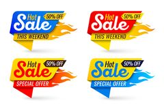 Hot sale price offer deal vector labels templates stickers desig. Ns with flame. Vector illustration set Stock Image