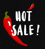 Hot sale. Red chili pepper poster. Handdrawn lettering Royalty Free Stock Image