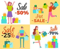 Hot Sale 50 Shopping Set Vector Illustration. Hot sale 50 shopping, set of four pictures depicting happy people with bags, boxes and gifts vector illustration Stock Photography