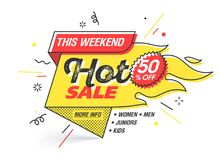 Hot sale special offer banner. Hot sale, weekend special offer banner template in flat trendy memphis geometric style, retro 80s - 90s paper style poster Royalty Free Stock Images