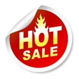 Hot sale sticker badge with flame. On white background Royalty Free Stock Photos