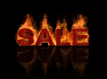 Hot sale title with flame burning effect and refle. The concept of hot sale title with flame burning effect and reflection Stock Image