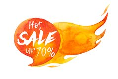 Hot sale up 70% lettering on hot burning speech bubble, watercolor sale-out sign isolated on white.  vector illustration