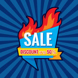 Hot sale - vector banner template concept illustration. Discount up to 50% - creative layout with origami badge and red fire flame. Design element Royalty Free Stock Photo