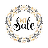 Hot Sale vector poster. Hand lettering in floral frame for discount card design concept. Hot Sale vector poster. Hand lettering in floral frame for discount Royalty Free Stock Images