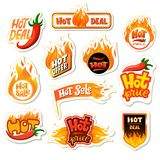 Hot sale vector redhot offer price label for promotion and shopping discount banner with fired signs illustration set of. Red-hot template pricetag isolated on Royalty Free Stock Photography