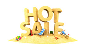 HOT SALE - words of sand. 3d illustration Royalty Free Stock Images
