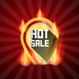 Hot Sale Yellow Label in Flames Royalty Free Stock Images