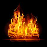 Hot sales billboard banner with glowing text in flames. Poster. Abstract vector illustration Royalty Free Stock Image
