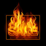 Hot sales billboard banner with glowing text in flames. Poster. Abstract vector illustration Stock Photos