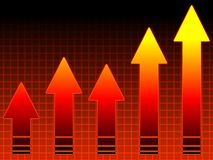 Hot sales: graph. Red arrows graph showing growth stock illustration