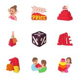 Hot sales icons set, cartoon style Stock Photos