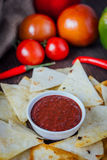 Hot salsa dip over the hip of nachos chips - organic home made sauce. Royalty Free Stock Photos