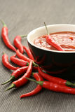 Hot salsa mexicana. With fresh chili peppers Stock Image