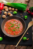 Hot salsa tomato with spring onion and red pepper Stock Image