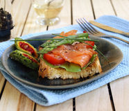 Hot a salty salmon sandwich Stock Images