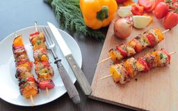 Hot sashliks on skewers Stock Image