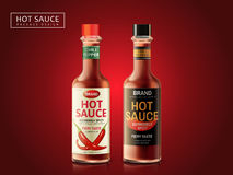 Hot sauce package design. Hot sauce bottle package design, dark red background, 3d illustration Royalty Free Stock Photography
