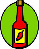Hot sauce with red chili pepper in label. Vector. Illustration of a hot sauce bottle with a red chili pepper in the label. Vector file available in EPS format Stock Images