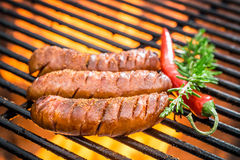 Hot sausage on the grill with fire Royalty Free Stock Photos