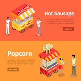 Hot Sausage and Popcorn Mobile Umbrella Carts Royalty Free Stock Image
