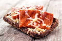 Hot sausage sandwich. Hot rye bread sandwich with grilled sausage and cheese Royalty Free Stock Photography